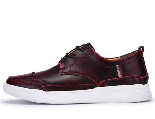 genuine leather men sneaker