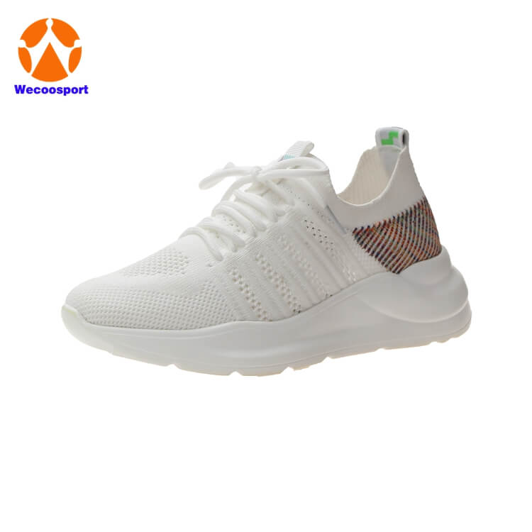 woman white sock running shoes