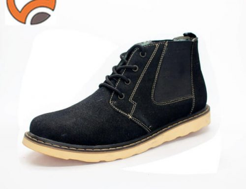 black mid calf leather boots